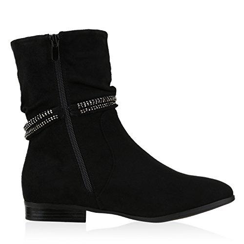 Klassische Damen Stiefeletten Strass Metallic Boots Schwarz Strass