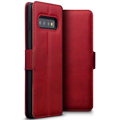 TERRAPIN, Kompatibel mit Samsung Galaxy S10 Hülle, Premium ECHT Spaltleder Flip Handyhülle Samsung Galaxy S10 Tasche Schutzhülle - Rot
