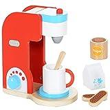 LCP Kids Kaffeemaschine 8 teiliges Kinder Spielzeug Set aus Holz mit vielen Funktionen Spielzeugküche Zubehör