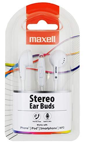 Maxell 303756 Stereo Ear Buds Plus Mic Ohrhörer mit Mikrofon 3,5 mm Klinke weiß -