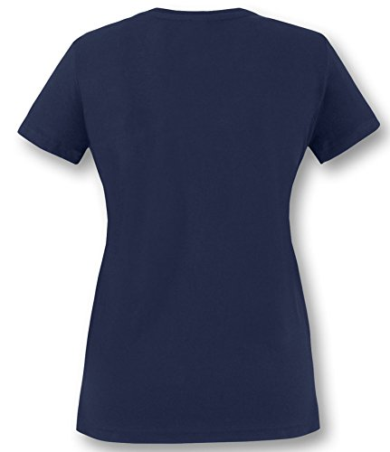 EZYshirt Läuft bei dir ! Damen V-Neck T-Shirt Navy/Orange