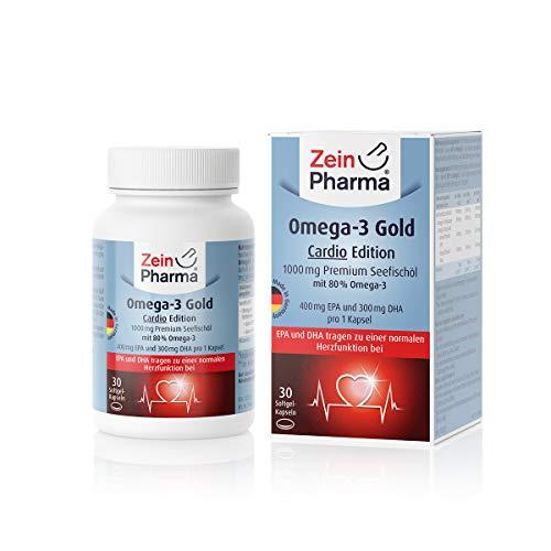 ZeinPharma Omega-3 Gold -Cardio Edition- Premium Seefischöl 1000mg • 30 Softgel Kapseln • mit EPA, DHA & Vitamin E • Hergestellt in Deutschland - 300 Mg 30 Softgels