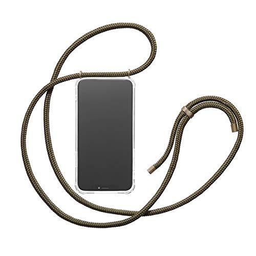 KNOK Handykette Kompatibel mitApple iPhone 7/8- Silikon Hülle mit Band - Handyhülle für Smartphone zum Umhängen - Transparent Case mit Schnur - Schutzhülle mit Kordel in Oliv -