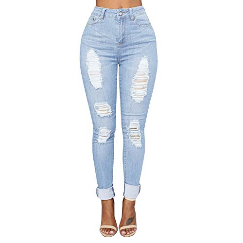 Damen Hosen Sommer LHWY Frauen Zerrissen Denim Jeans Löcher Lang Hosen Slim Stretch Skinny Hose High Waist Sports Casual Jeanshosen (2XL, Blau) - Frauen Plus Size Jean-rock Für