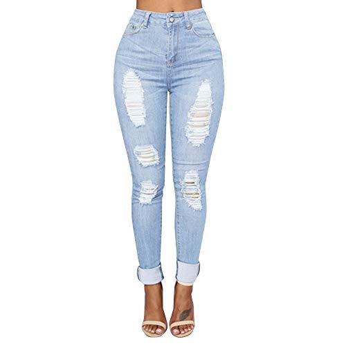 Damen Hosen Sommer LHWY Frauen Zerrissen Denim Jeans Löcher Lang Hosen Slim Stretch Skinny Hose High Waist Sports Casual Jeanshosen (2XL, Blau) - Size Jean-rock Frauen Plus Für