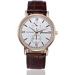 Longra☀☀De manera simple diseño retro de aleación analógico cinturón de Shi Ying relojes (marrón)