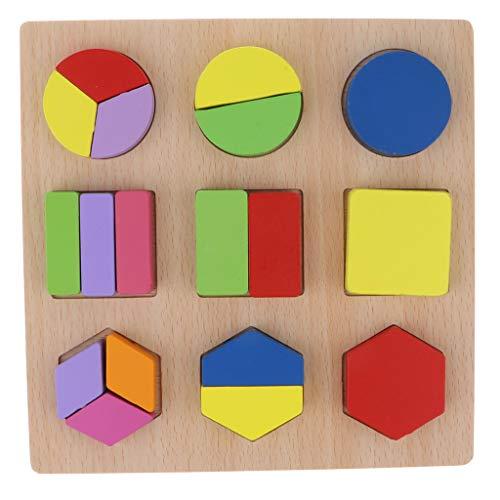 perfeclan Bloque de Formas de Geometría Madera Tablero de Fracción Colorido Regalo de Cumpleaños Navidad para Niños - hexágono