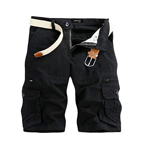 KEERADS Herren Shorts Sommer Cargo Chino Bermuda Vintage Kurz Hose mit Taschen (Kein Gürtel)(29,Schwarz) (Jungen Vintage Shorts)
