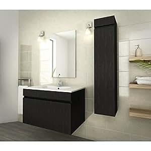 LUNA Ensemble de salle de bain 80 cm décor essen noir