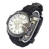 Orologio sportivo da uomo LCBH Outdoor Alpinismo da viaggio Orologio da campeggio Survival SOS Multi-Function Emergency Watch-Black