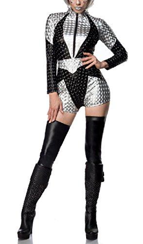 Damen Space Girl Catsuit Kostüm Verkleidung mit Gürtel, Stulpen mit Wetlook Material in 3D Optik Onesize (Silber Stulpen Kostüm)