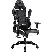 Songmics Gaming Stuhl Bürostuhl Schreibtischstuhl Chefsessel mit Armlehnen Rückstellschaum schwarz-weiß RCG12W