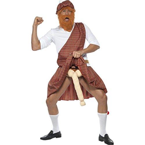 Witziges Schotten Kostüm mit Willy Männerkostüm Schottenkostüm Kilt Rock Schottenrock Herren Highlander Schotte M 48 50
