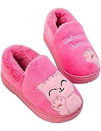 fdb68196016 Boys Girls Soft Plush Cute Cat Winter Slippers Warm Kids House Shoes  Anti-Slip Slip On Cotton Outdoor Bedroom…