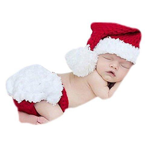 EROSPA® Baby Weihnachtsmann Kostüm Neugeborenen Christmas Weihnachten Hut Windel Hose Häkeln für Fotoaufnahmen Geschenk