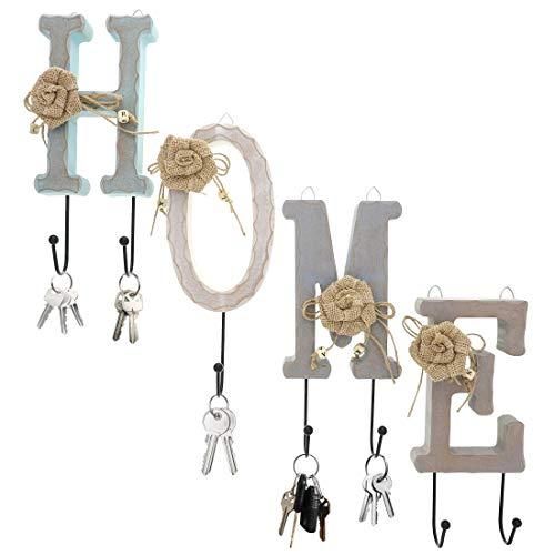 Home Buchstaben Holz Wandhaken Schienen Set mit 6Knöpfen-Charming Eisen Haken für Haushaltsartikel, Kleidung, Schlüssel (Holz Schlüssel Haken)