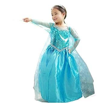 Vestito Frozen Bambina Dress Carnevale Costume Bimba childen Blu 808 (110 - 2/3 anni)