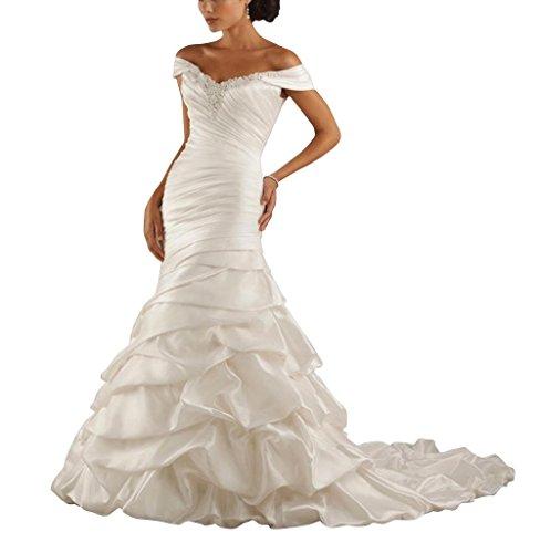 GEORGE BRIDE Meerjungfrau / Trompete weg von der Schulter Kapelle Zug Taft Pick-Up Brautkleider Hochzeitskleider ,Groesse 44,Weiss (Taft Meerjungfrau Brautkleid)