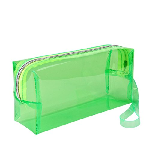 Kingko® Large Transparent Solid Color Zipper Cosmetic Jelly Pencil Case Office School Stationery (Green)