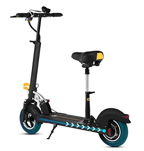 XULONG Scooter Eléctrico para Adultos, Mini Portátil Plegable con Asiento Plegable De 10 Pulgadas 700 W 200 Kg Load35km / H para Trabajar Conmutar Viaje En El Centro Regalo De Cumpleaños, 36V6A/20Km