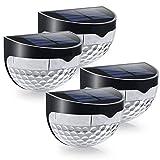 YiYueTrade 4 LED Solar Zaunpfosten Lichter Halbkreis-Design Wandmontage Deko Deckbeleuchtung Licht mit Montageschraubenzubehör schwarz