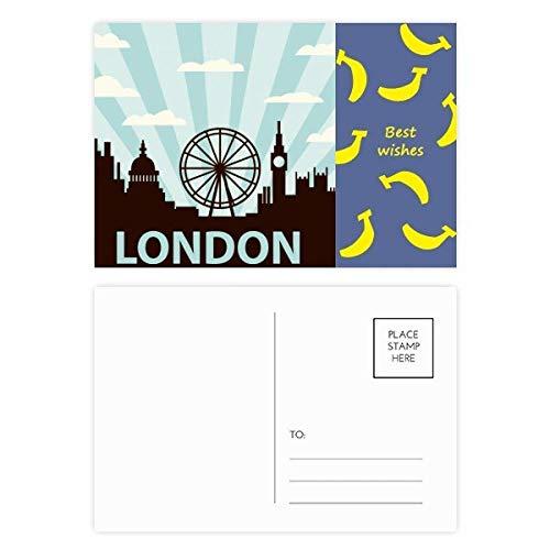 Britain UK London Eye Silhouette United Kingdom Banana Postkarten-Set, 20 Stück