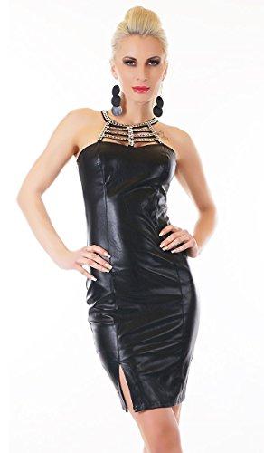 Sexy Minikleid im heißen Leder-Look mit Ketten- und Strass- Verzierung in schwarz Größe M/L