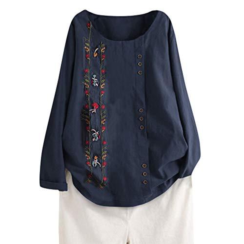TOALOL Damen Sommerkleid Beiläufige lose Knopf-Leinen-Plusgrößen-Druck-Boho Tanic Hemd-Blusen-Oberseiten der Frauen (Womans Bmw Bekleidung)