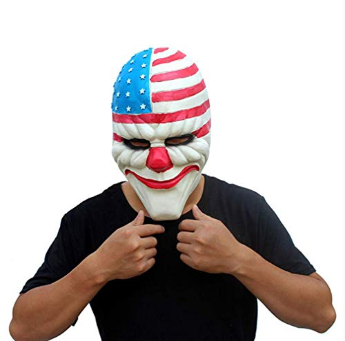 Horror Payday 2 Maske Realistische Spiel Serie Latex Maske Erwachsene Voller Kopf Zahltag Clown Cosplay Kostüm Party Maske Für Halloween (Payday 2 Cosplay Kostüm)