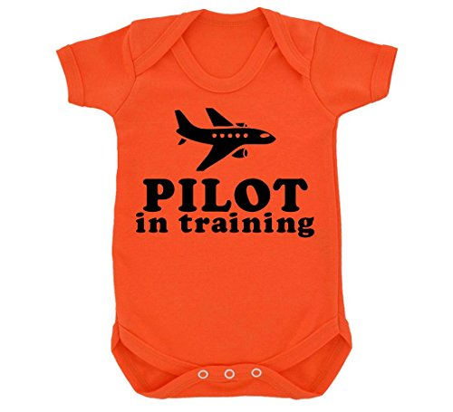 pilot-in-training-design-baby-body-orange-mit-schwarz-print-gr-68-orange-orange