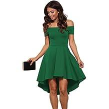 c7388264dabae abito cerimonia da donna mini abito vestito damigella elegante festa scollo  barchetta