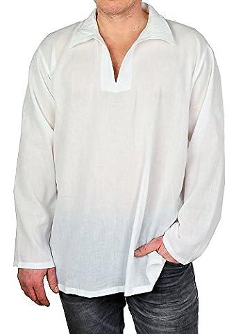 Mabrasco Yoga Shirt Unisex aus 100% dünner Baumwolle Fisherman-Hemd weiß,