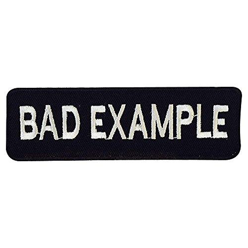 Real Empire, toppa ricamata termoadesiva o da cucire con scritta 'Bad Example', colore bianco e nero, da motociclista