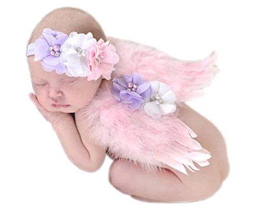 Mummyhug Neugeborene Baby Fotografie Stützen Feder Engel Flügel mit Blume Stirnband Neugeborenes Baby Kostüm