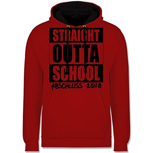 Abi & Abschluss - Abschluss 2018 Straight Outta School - Kontrast Hoodie Rot /Schwarz