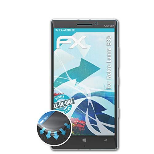 atFolix Schutzfolie passend für Nokia Lumia 930 Folie, ultraklare & Flexible FX Bildschirmschutzfolie (3X)