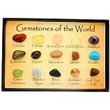 Mini caja de joya carta - 15 piedras preciosas pulidas del mundo en una vitrina