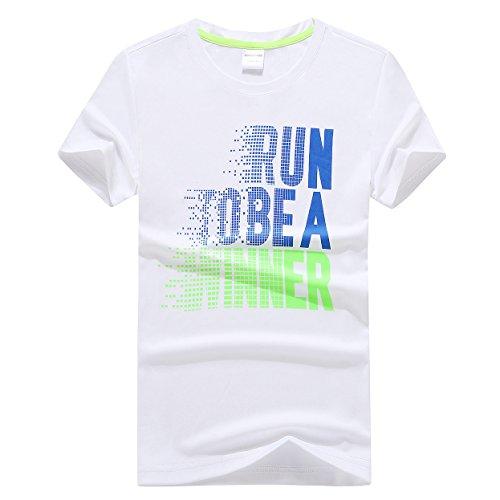 Echinodon Jungen Shirt Schnelltrockend T-Shirt Sport und Freizeit Jogging Kurzarmshirt Weiß