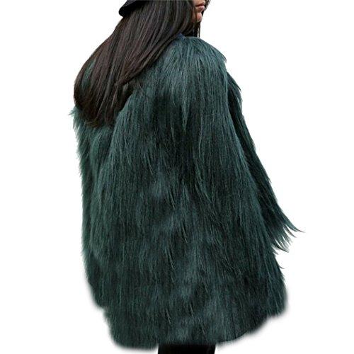 Donna cappotto corto di pelliccia ecologica di faux giacca blazer giacca corta pelliccia a maniche lunghe m scuro verde