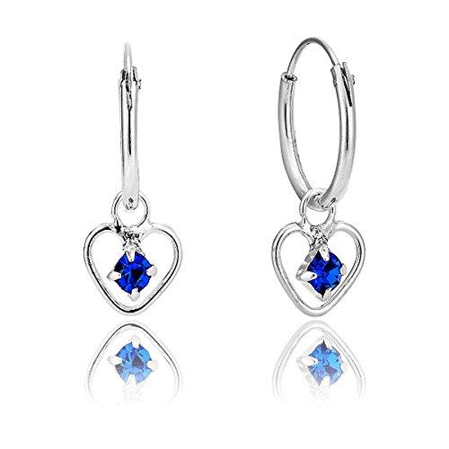 DTP Silver - Orecchini a cerchio con pendenti a forma di Cuore - Argento 925 con Cristalli Swarovski - Colore: Blu Zaffiro