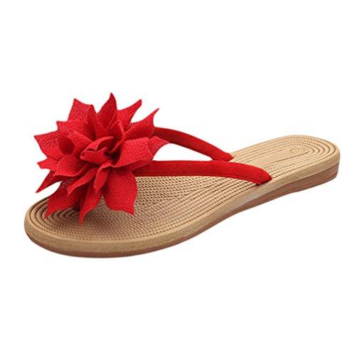 Lvraoo donna infradito con fiori boemia piana sandali traspirante scarpe da spiaggia pantofole (verde, cn 41)