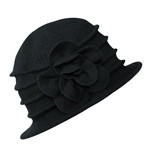 Urban GoCo Donne Elegante Fiori Beret Beanie Hat Secchio Feltro di Lana Cappello Benna Cloche Berretto (#2 Nero)