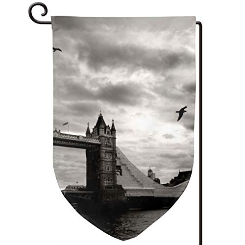 Socksforu Vintage Picture of Tower Bridge, London, UK Art Garden Flag Yard Flag 12.5 X 18inch Home Decorative House Flag,Banners for Patio Lawn Outdoor -