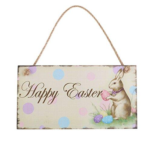Rosenice decorazioni pasquali da appendere happy easter targa da parete in legno vintage coniglio uova di pasqua