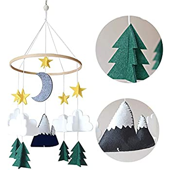 KeKeandYaoYao Hanging Decoration Baby Room Crib Mobile Ornament Starry Woodland Night Nursery Hanging Decoration