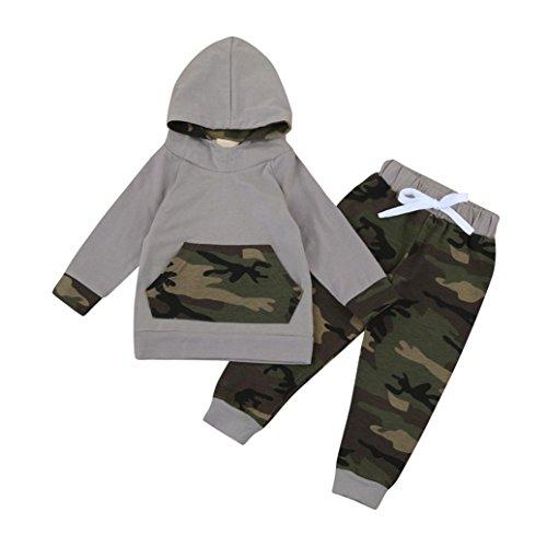 Kobay 2pcs Kleinkind Baby Boy Girl Kleidung Set Camouflage Hoodie Tops + Hosen Outfits (80/12Monat, Tarnung)