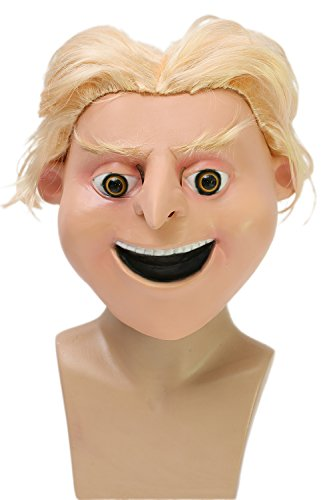 Halloween Cosplay Full Head Latex Maske mit Attached Perücke Masquerade Verrücktes Kleid Props Erwachsene (Erwachsene Despicable Me Gru Maske)