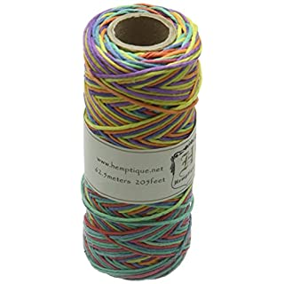 Hemptique Hemp Variegated Cord Spool 20lb 205'-Rainbow, Other, Multicoloured, 5.81 x 5.81 x 11.52 cm