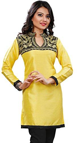 Silk Indian Tuniken Kurti Top Longbluse Damen Gestickte Indien Bekleidung Gelb