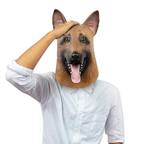 Deutsch Schäferhund Tierkopf Maske, Polizei Hund Latex Maske, Halloween Neuheit Kostüm Party Hund Maske (Adult Deutscher Schäferhund)